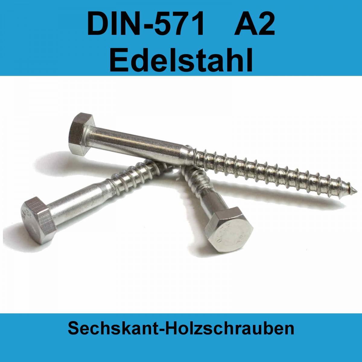 Wundervoll M10 DIN 571 Holzschrauben A2 Edelstahl Sechskant  ZK26