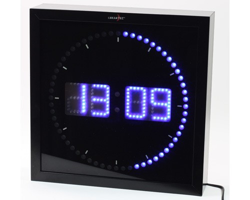 LED Wanduhr Uhr blau DIGITAL ANZEIGE QUARZUHR Lauflicht NEU  eBay